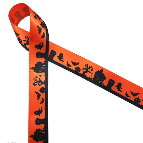 "Scary Town on 7/8"" orange single face satin ribbon is one of our most popular Halloween designs. It makes a perfect addition to candy boxes and sweet treats!"