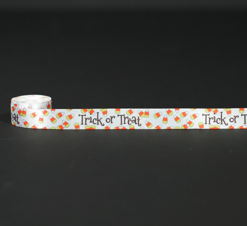 "Trick or Treat with candy corn on 5/8"" white single face satin ribbon, 10 Yards"