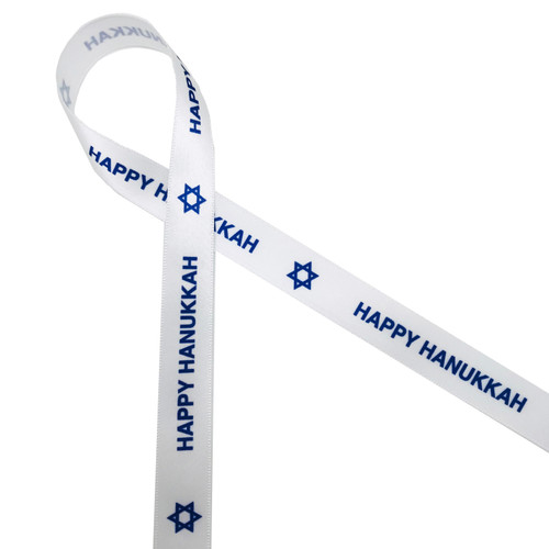 "Happy Hanukkah and the Star of David on 5/8"" White Single Face Satin ribbon, 10 Yards"
