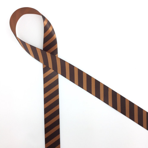 "Chocolate stripes on brown 7/8"" single face satin ribbon, 10 Yards"