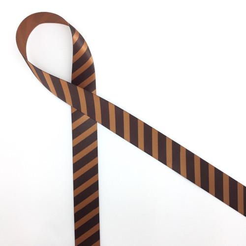 "Chocolate stripes on brown 7/8"" single face satin ribbon, 10 Yards"
