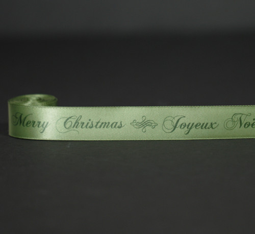 """Joyeux Noel and Merry Christmas in green on 7/8"""" Willow green single face satin ribbon,  10 Yards"""