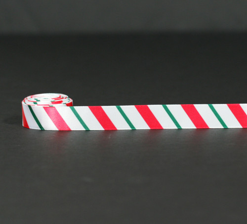 """Candy cane stripes in red and green on 5/8"""" white single face satin ribbon,  10 Yards"""