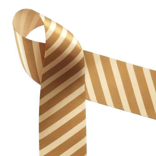 "Caramel rep stripes on 1.5"" gold single face satin ribbon, 10 yards"