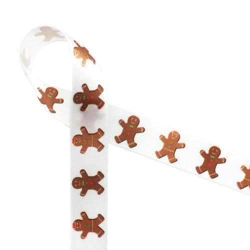 "Gingerbread men on 5/8"" white single face satin ribbon, 10 Yards"