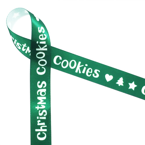 "Christmas Cookies in white on green ribbon with hearts, trees and stars on 5/8"" single face satin ribbon in 10 yard spools."