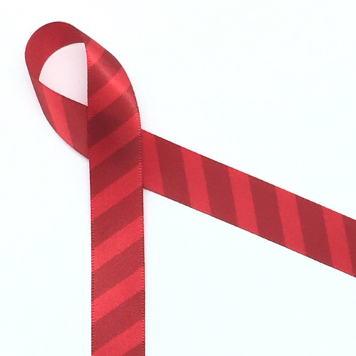 """Red stripes on 5/8"""" Red Single Face Satin ribbon, 10 Yards"""