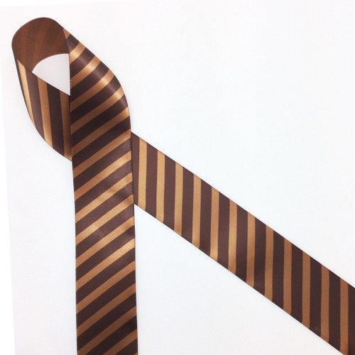 "Diagonal striped chocolate brown on 1.5"" brown ribbon, 10 Yards"