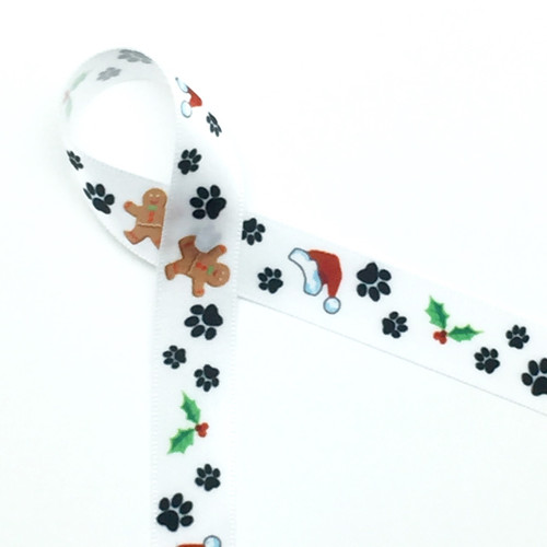 "Paw prints in black with Santa hats, Holly, and Gingerbread men on 5/8"" Single face satin ribbon,10 Yards"