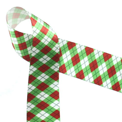"""Christmas argyle in red and green on 1.5"""" white single face satin ribbon, 10 Yards"""