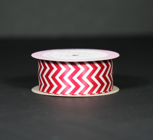 "Chevron in red on 1.5"" antique white single face satin ribbon, 10 Yards"