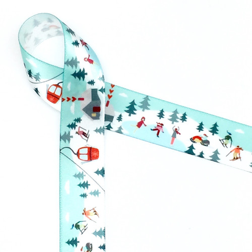 "Our 7/8""  Winter fun ribbon features all the fun activities of the cold season! There is skiing, ice skating and snow mobiles along with a warming lodge for those who prefer reading by the fire! Designed and printed in the USA"