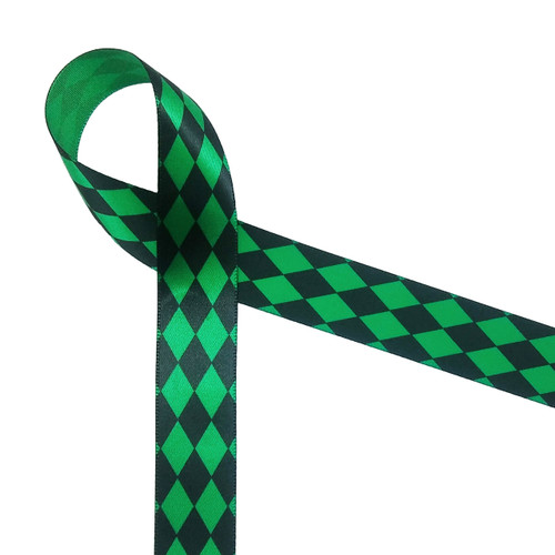 "Harlequin print in black on emerald green 7/8"" single face satin ribbon, 10 Yards"
