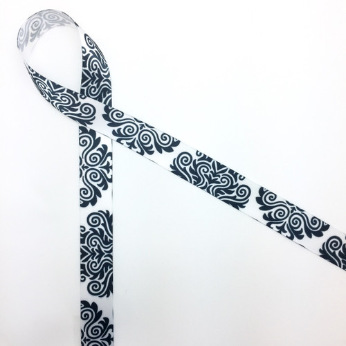 "Black and white damask on 7/8"" white single face satin makes any affair just a bit more elegant!"