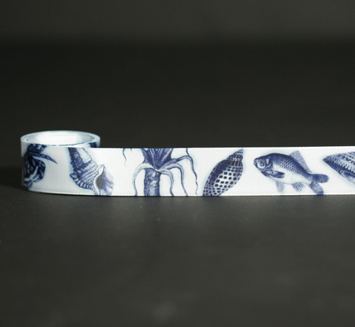 "Sea Creatures in navy blue on 7/8"" white single face satin ribbon, 10 Yards"
