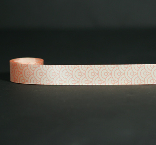 """Fish Scales Ribbon in coral on 7/8"""" Lt. Peach Single Face Satin Ribbon, 10 Yards"""
