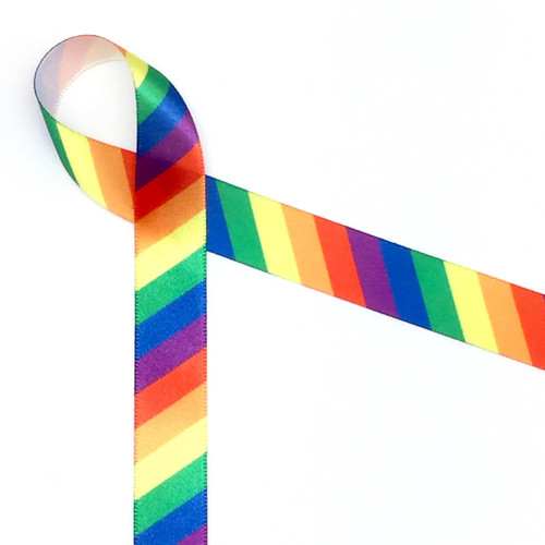 "Rainbow Stripe Ribbon on 5/8"" White Single Face Satin Ribbon, 10 Yards"