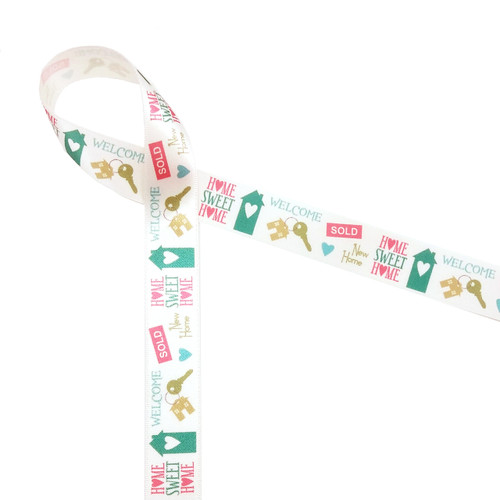 Welcome Home word block ribbon expresses all the sentiments of moving to a new place!