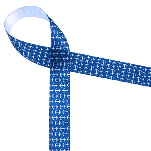 "Mini Anchors Ribbon in White on a Navy background 7/8"" White Single Face Satin Ribbon, 10 Yards"