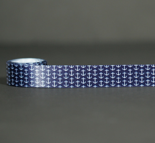 """Mini Anchors Ribbon in White on a Navy background 7/8"""" White Single Face Satin Ribbon, 10 Yards"""