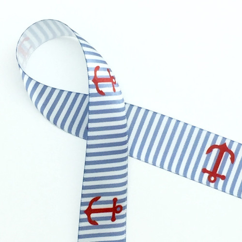 "Red anchors on a blue and white background on 7/8"" white single face satin ribbon, 10 Yards"