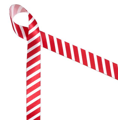 "Red stripes on 7/8"" white single face satin ribbon, 10 yards"