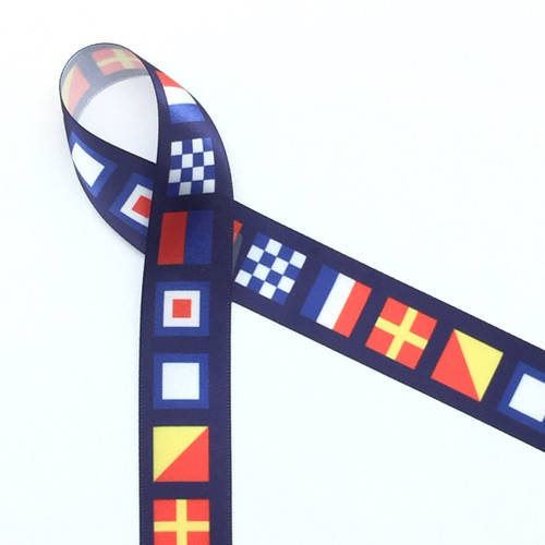 "Nautical Flags with Navy Blue Background on 7/8"" White Single Face Satin Ribbon, 10 yards"