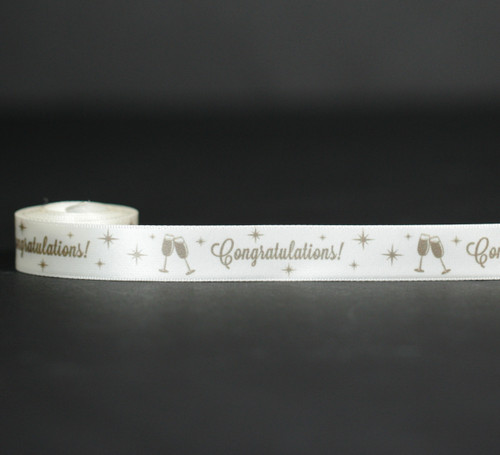 "Congratulations Ribbon with champagne glasses in gold ink on 5/8""  antique white White Single Face Satin Ribbon, 10 yards"