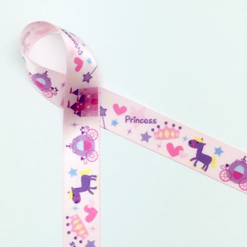 "Princess in Pink on 5/8"" single face satin ribbon featuring all the important elements a regal little one could ever want!"