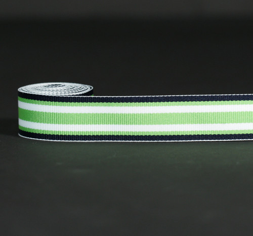 """Stripes  Ribbon of Navy blue, Lime green and White Woven7/8"""" Grosgrain, 10 Yards"""