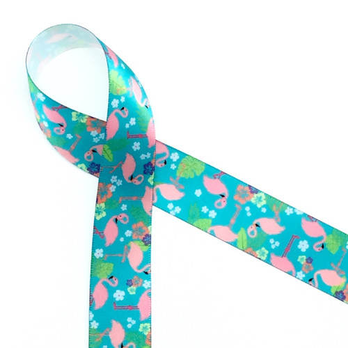 """Flamingos in pink with green ferns and white flowers are ready for the party on 7/8"""" white single face satin ribbon, 10 yards"""