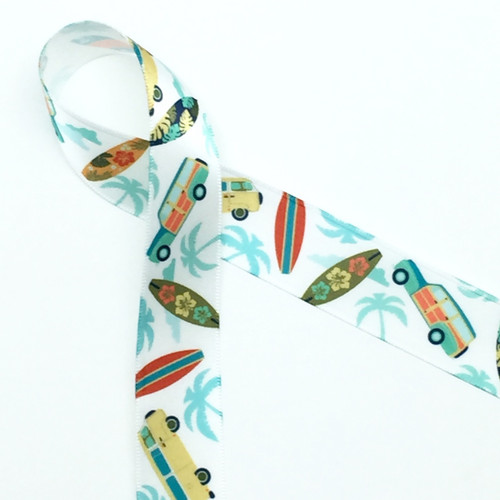 "Surf boards and Woody wagons with palm trees on 7/8"" white single face satin ribbon, 10 yards"