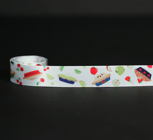 "Pies tossed with fruits on 7/8"" white single face satin ribbon, 10 yards"