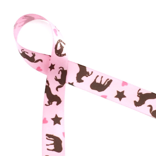 "Brown horses with bits, horseshoes, stars and hearts on pink 5/8"" ribbon! Perfect for any horse themed party favor!"