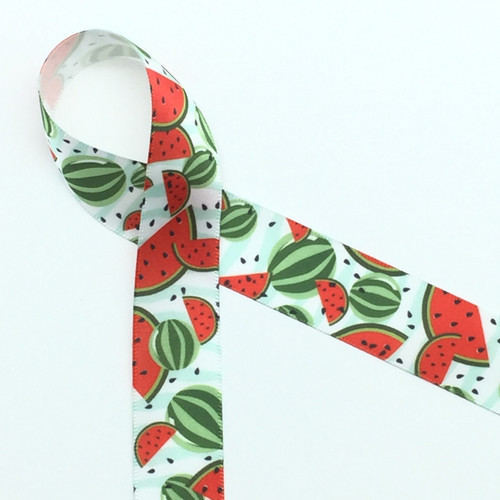 """Watermelons in red with black seeds and colorful green rinds on 7/8"""" white single face satin ribbon, 10 Yards"""