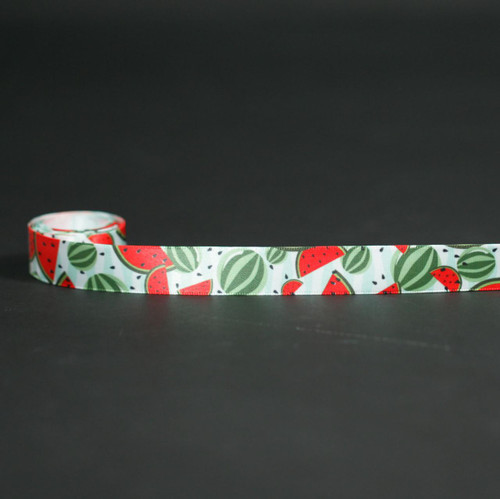 "Watermelons with seeds and rinds on 5/8"" white single face satin ribbon, 10 Yards"