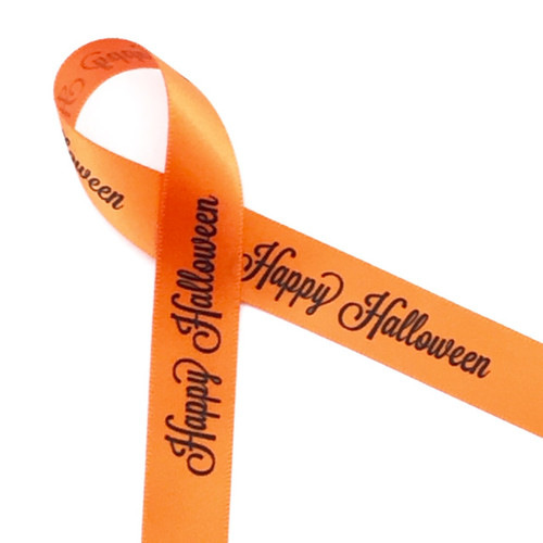 "Happy Halloween in black on 5/8"" orange single face satin ribbon, 10 yards"