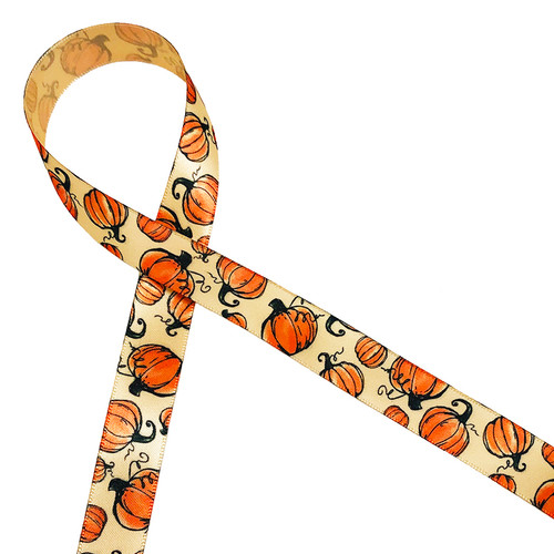 """Our elegantly styled Fall pumpkins with a curling vine printed on 5/8"""" raw silk single face satin ribbon is perfect for Fall decor, party decor, gift wrap, packaging, party favors and quilting and sewing projects! All our ribbon is designed and printed in the USA"""