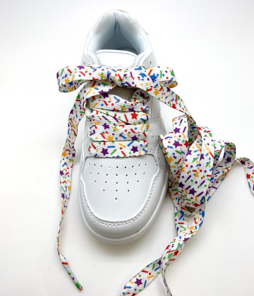 "Shoelaces with sprinkles in primary colors printed on standard shoelace material 54"" long"