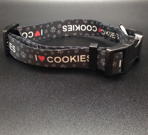 """I ( red Heart) Cookies Dog Collar with paw prints 1"""" wide webbing"""