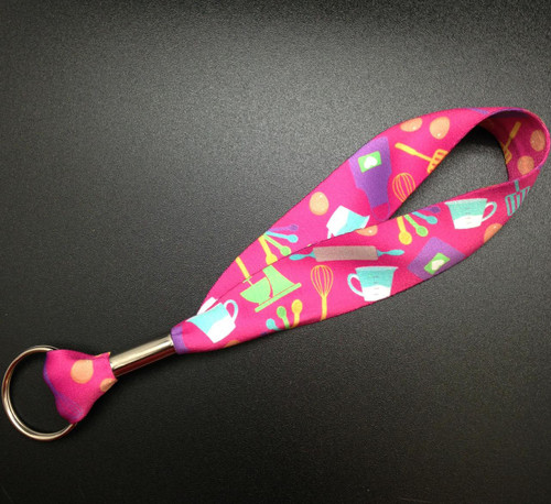 """Key Fob with Baking elements on a Pink background on 1"""" Webbing"""