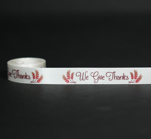 "We Give Thanks with Fall inspired wheat sheaves on 5/8"" antique white single face satin ribbon, 10 yards."