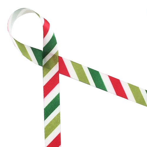 "Stripes of lime, green and red on a 3/8"" white single face satin are the perfect addition to your Holiday ribbon collection!"