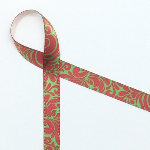 "Elegant swirls of red and green on 3/8"" white single face satin ribbon is a perfect tie for a formal favor and special tiny gift!"