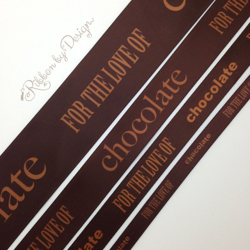 """For the Love of Chocolate collection. We offer this fun chocolate ribbon in 3/8"""", 5/8"""", 7/8"""" and 1.5"""" widths. There is something for every chocolate lover here!"""