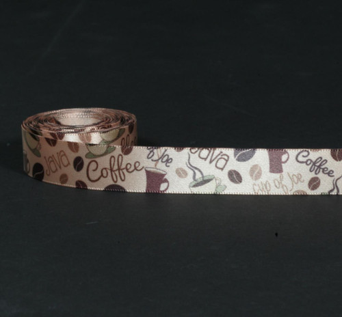 """Coffee themed ribbon featuring beans, cups and coffee expressions on 5/8"""" tan single face satin ribbon. Offered in 10 and 90 yard spools"""