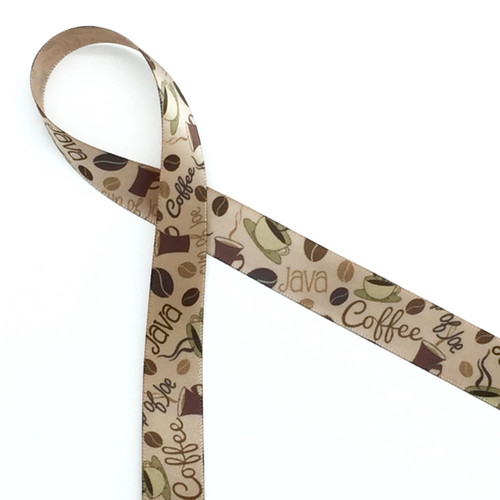 "Coffee themed ribbon featuring beans, cups and coffee expressions on 5/8"" tan single face satin ribbon. Offered in 10 and 90 yard spools"