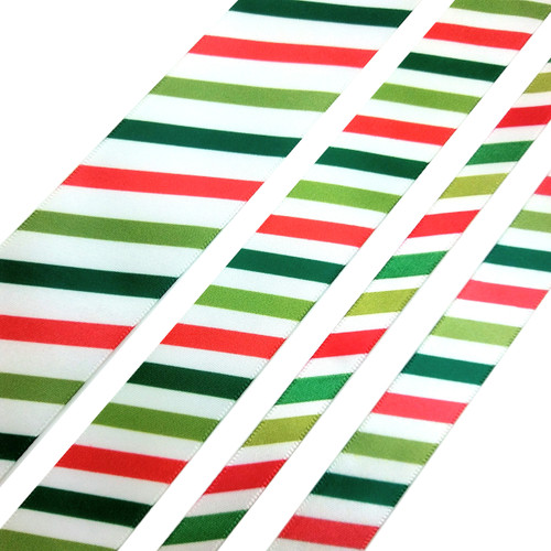 "Stripes of lime red and green on white single face satin ribbon, available in 3/8"", 5/8"", 7/8"" and 1.5"" widths"
