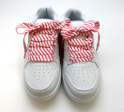 """Red and White Striped Shoelaces 45"""" long"""