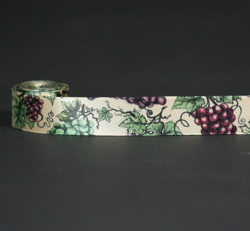 """Grapes Ribbon with grape leaves on 7/8"""" raw silk single face satin, 10 Yards"""